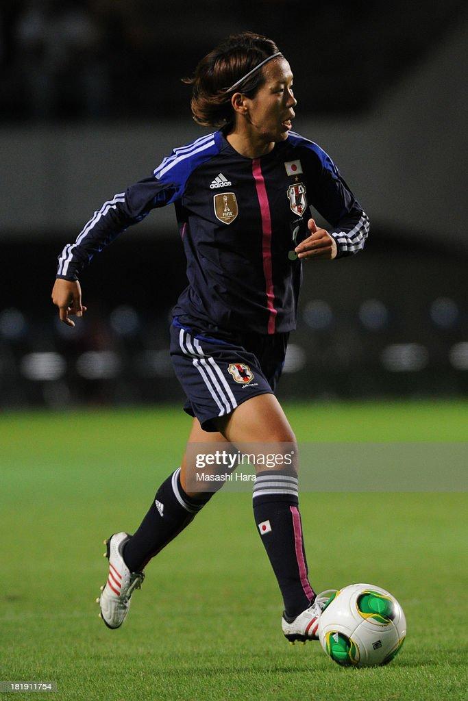 Azusa Iwashimizu #3 of Japan in action during the Women's international friendly match between Japan and Nigeria at Fukuda Denshi Arena on September 26, 2013 in Chiba, Japan.