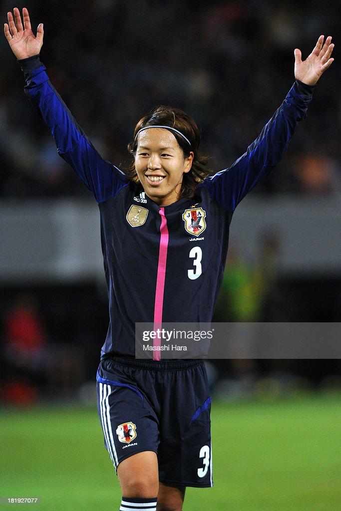 Azusa Iwashimizu #3 of Japan looks on during the Women's international friendly match between Japan and Nigeria at Fukuda Denshi Arena on September 26, 2013 in Chiba, Japan.