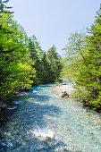 Azusa river in kamikochi national park nagano japan