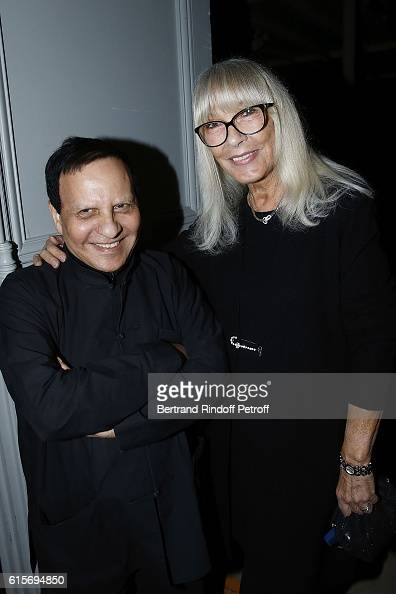 Azzedine Alaia and Actress Dany Saval attend the Contemporary Artist Mike Bouchet Exhibition Opening at Azzedine Alaia Gallery on October 16 2016 in...