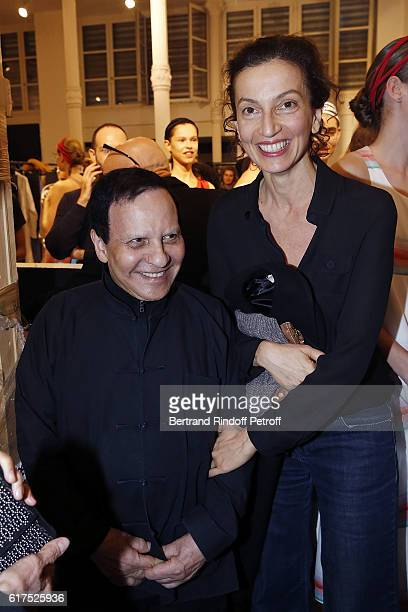 Azzedine Alaia and Audrey Azoulay attend the Azzedine Alaia Fashion Show at Azzedine Alaia Gallery on October 23 2016 in Paris France