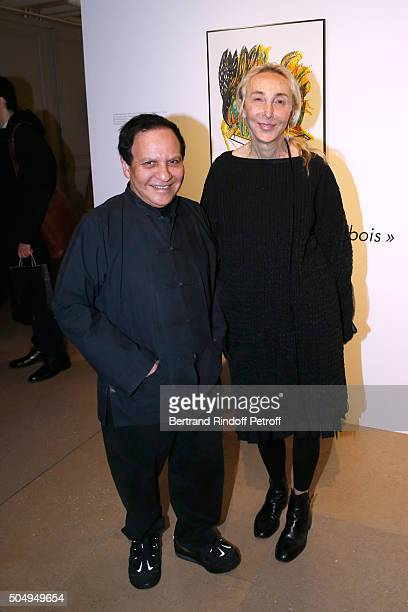 Azzedine Alaia and Carla Sozzani attend the 'Jean Nouvel and Claude Parent Musees a venir' Exhibition Opening at Galerie Azzedine Alaïa on January 13...