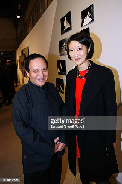 Azzedine Alaia and French minister of Culture and Communication Fleur Pellerin attend the 'Jean Nouvel and Claude Parent Musees a venir' Exhibition...