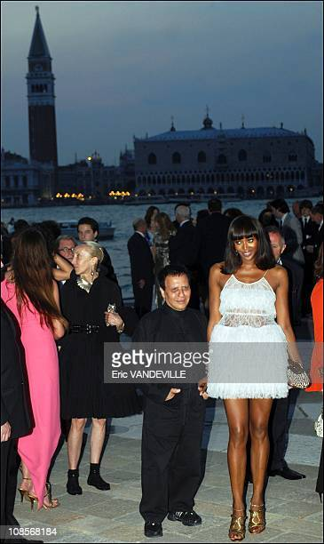 Azzedine Alaia and Naomi Campbell at the party in Venice at San Giorgio Island offered by french billionaire Francois Pinault with Salma Hayekwho is...