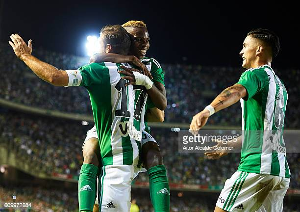 b17 Joaquin Sanchez of Real Betis Balompie celebrates after scoring with Charly Musonda of Real Betis Balompie during the match between Real Betis...