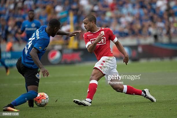 b24 Stefano Denswil defender of Club Brugge s07 Matthieu Dossevi midfielder of Standard Liege during the Jupiler Pro League match between Club Brugge...