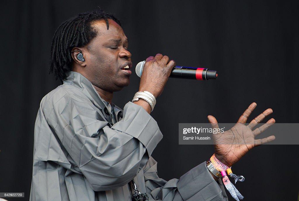 Baaba Maal performs on the Pyramid Stage at Glastonbury Festival 2016 at Worthy Farm, Pilton on June 25, 2016 in Glastonbury, England.