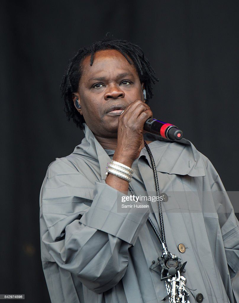 Baaba Maal performs on the Pyramid Stage at Glastonbury Festival 2016 at Worthy Farm, Pilton on June 25, 2016 in Glastonbury, England.