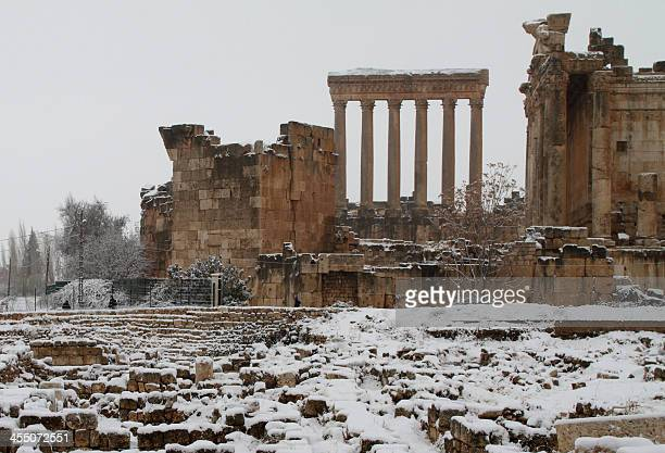 Baalbek's temples are pictured on December 11 2013 as the Roman ruins of the historic town in eastern Lebanon's Bekaa Valley were covered with snow...