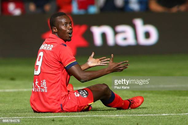 Baba Diawara of Adelaide appeals to the referee during the round 27 ALeague match between Adelaide United and the Western Sydney Wanderers at Coopers...