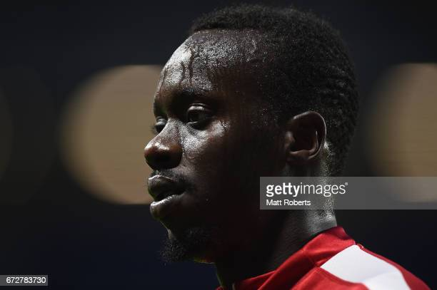 Baba Diawara of Adelaide United looks on during the AFC Champions League Group H match between Gamba Osaka v Adelaide United at Suita City Football...