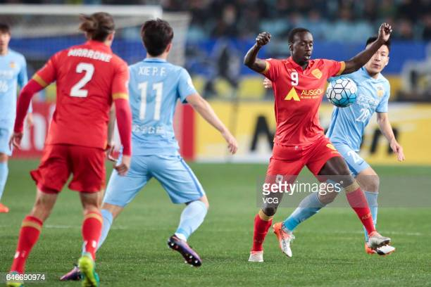 Baba Diawara of Adelaide United stops the ball during the AFC Champions League 2017 Group H match between Jiangsu Suning and Adelaide United at...