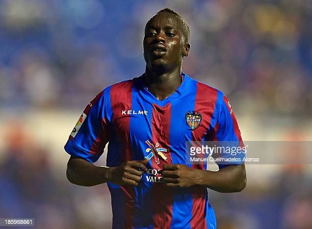 Baba Diawara of Levante looks on during the La Liga match between Levante UD and RCD Espanyol at Estadio Ciutat de Valencia on October 26 2013 in...