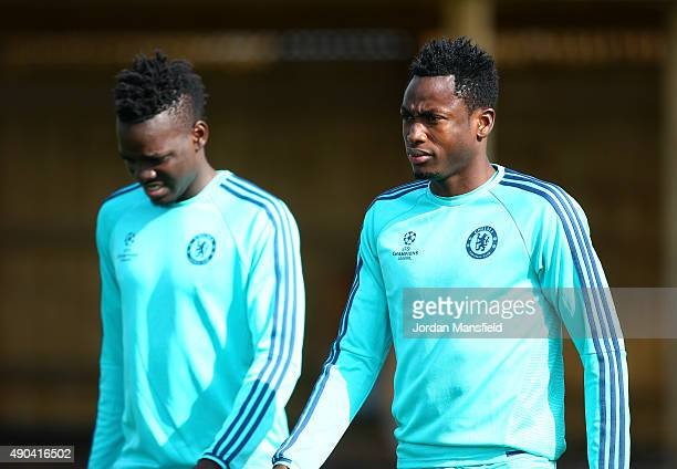 Baba Rahman and Bertrand Traore during a training session at Chelsea Training Ground on September 28 2015 in Cobham England