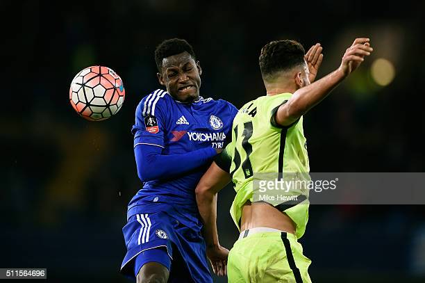 Baba Rahman of Chelsea competes for a header during The Emirates FA Cup fifth round match between Chelsea and Manchester City at Stamford Bridge on...