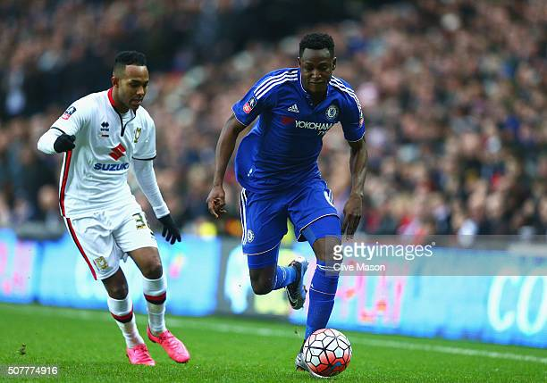 Baba Rahman of Chelsea takes on Rob Hall of MK Dons during the Emirates FA Cup Fourth Round match between Milton Keynes Dons and Chelsea at Stadium...
