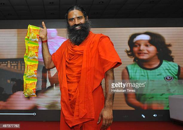 Baba Ramdev launching Patanjali Atta Noodels on November 16 2015 in New Delhi India Baba Ramdevpromoted Patanjali launched its whole wheat instant...