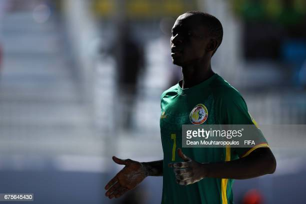 Babacar Fall of Senegal celebrates scoring a goal during the FIFA Beach Soccer World Cup Bahamas 2017 group A match between Switzerland and Senegal...