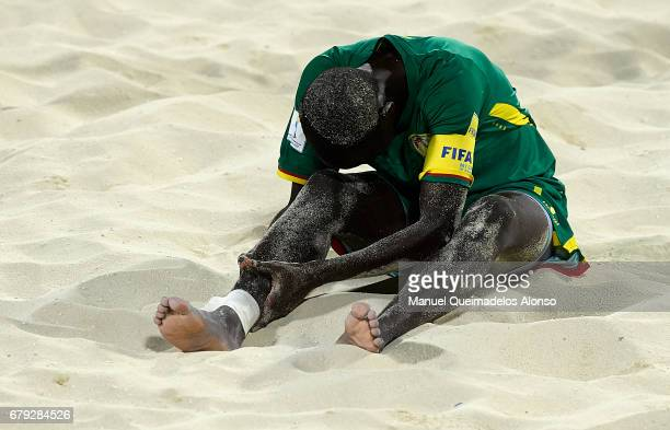 Babacar Fall of Senegal reacts on the sand during the FIFA Beach Soccer World Cup Bahamas 2017 quarter final match between Italy and Senegal at...