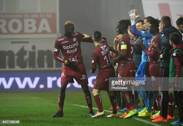 Babacar Gueye forward of SV Zulte Waregem and q Mbaye Leye forward of SV Zulte Waregem celebrates the win with the fans pictured during Jupiler Pro...