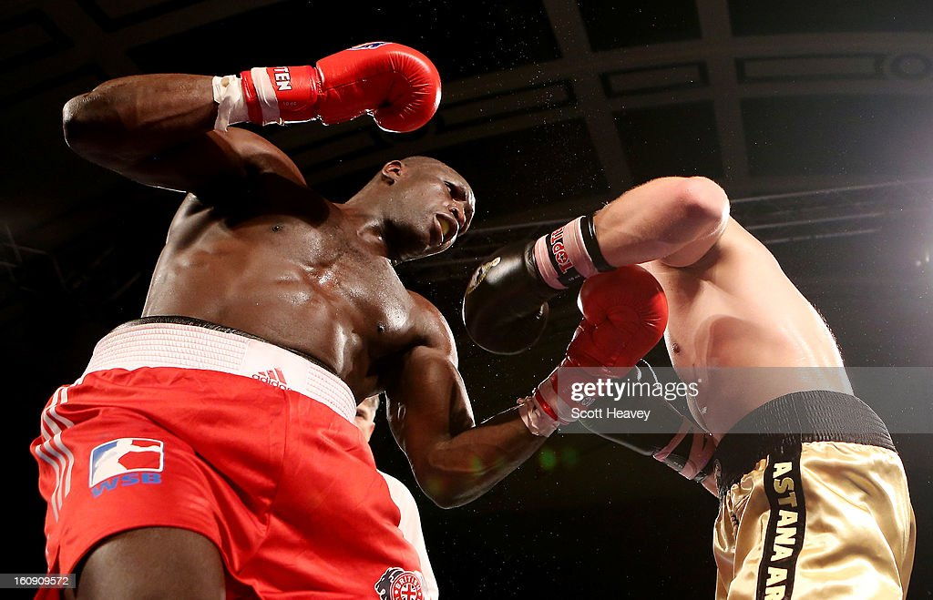 Babacar Kamara of British Lionhearts (L) in action with Hrvoje Sep of Astana Arlans Kazakhstan during the World Series of Boxing between British Lionhearts and Astana Arlans Kazakhstan on February 7, 2013 in London, England.