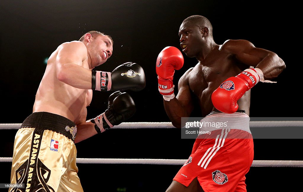Babacar Kamara of British Lionhearts (R) in action with Hrvoje Sep of Astana Arlans Kazakhstan during the World Series of Boxing between British Lionhearts and Astana Arlans Kazakhstan on February 7, 2013 in London, England.