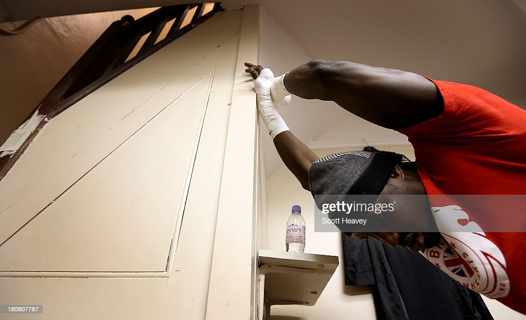 Babacar Kamara of British Lionhearts warms up prior to his 80-85KG bout with Hrvoje Sep of Astana Arlans Kazakhstan during the World Series of Boxing between British Lionhearts and Astana Arlans Kazakhstan on February 7, 2013 in London, England.