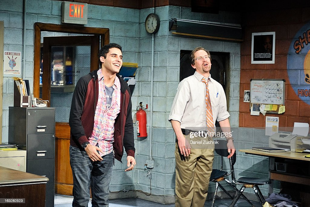Babak Tafti and Stephen Barker Turner perform during the off Broadway opening night of 'The North Pool' at Vineyard Theatre on March 6, 2013 in New York City.