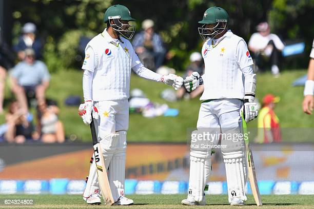 Babar Azam and Azhar Ali of Pakistan reacting during day three of the First Test between New Zealand and Pakistan at Hagley Oval on November 19 2016...