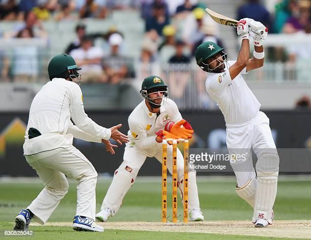 Babar Azam of Pakistan bats during day one of the Second Test match between Australia and Pakistan at Melbourne Cricket Ground on December 26 2016 in...