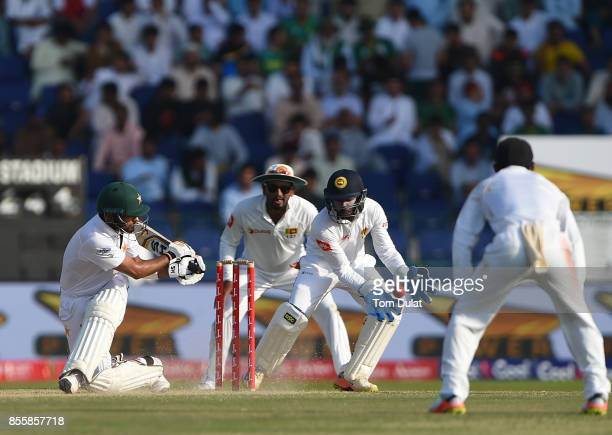 Babar Azam of Pakistan bats during Day Three of the First Test between Pakistan and Sri Lanka at Sheikh Zayed Stadium on September 30 2017 in Abu...
