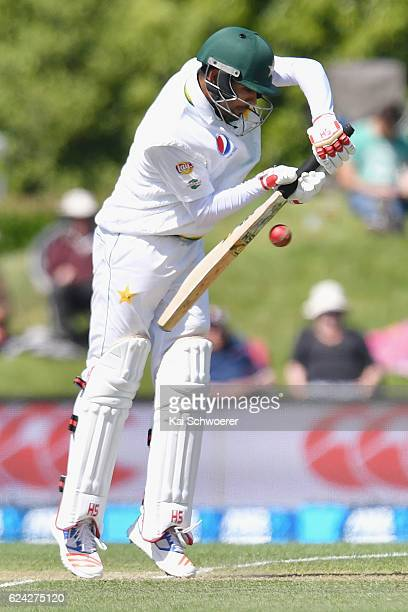 Babar Azam of Pakistan bats during day three of the First Test between New Zealand and Pakistan at Hagley Oval on November 19 2016 in Christchurch...