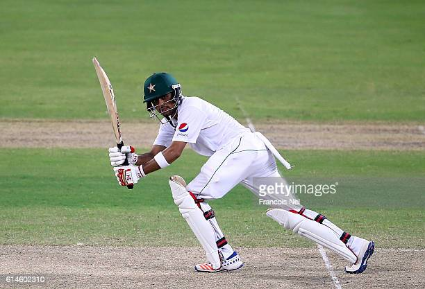 Babar Azam of Pakistan bats during Day Two of the First Test between Pakistan and West Indies at Dubai International Cricket Ground on October 14...