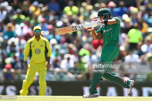 Babar Azam of Pakistan bats during game three of the One Day International series between Australia and Pakistan at WACA on January 19 2017 in Perth...
