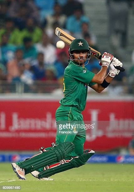 Babar Azam of Pakistan bats during the first T20 International match between Pakistan and West Indies at Dubai International Cricket Ground on...