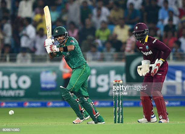 Babar Azam of Pakistan bats during the first T20 International match between Pakistan and West Indies at Dubai International Cricket Stadium on...