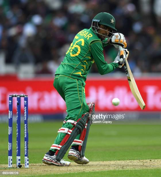 Babar Azam of Pakistan bats during the ICC Champions Trophy match between Pakistan and South Africa at Edgbaston on June 7 2017 in Birmingham England