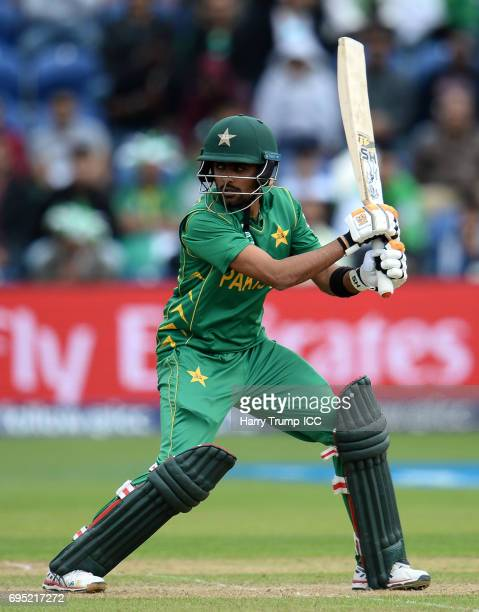 Babar Azam of Pakistan bats during the ICC Champions Trophy match between Sri Lanka and Pakistan at SWALEC Stadium on June 12 2017 in Cardiff Wales