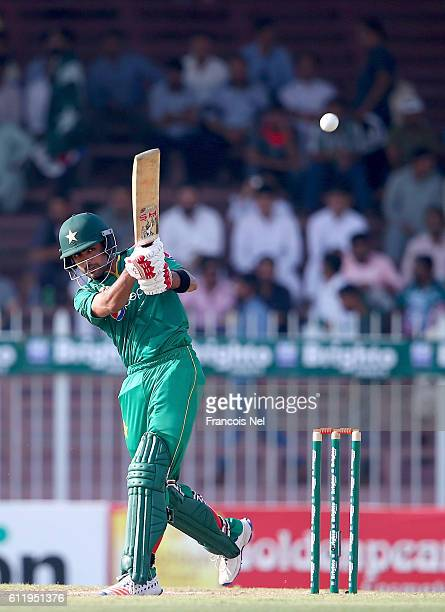 Babar Azam of Pakistan bats during the second One Day International match between Pakistan and West Indies at Sharjah Cricket Stadium on October 2...