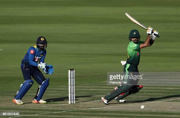 Babar Azam of Pakistan bats during the second One Day International match between Pakistan and Sri Lanka at Zayed Cricket Stadium on October 16 2017...