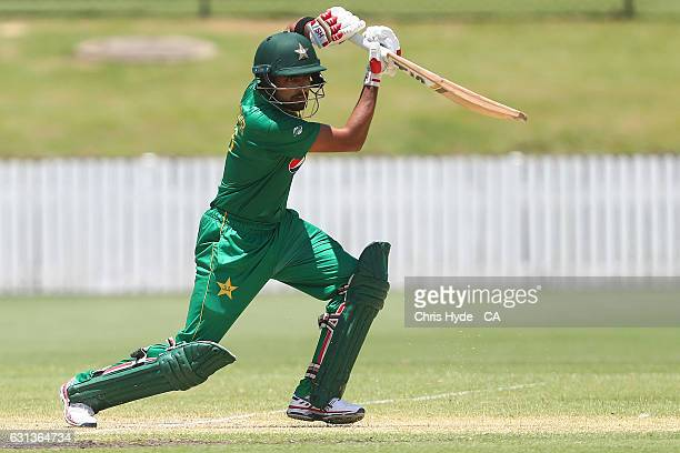 Babar Azam of Pakistan bats during the tour match between Pakistan and the CA XI at Allan Border Field on January 10 2017 in Brisbane Australia