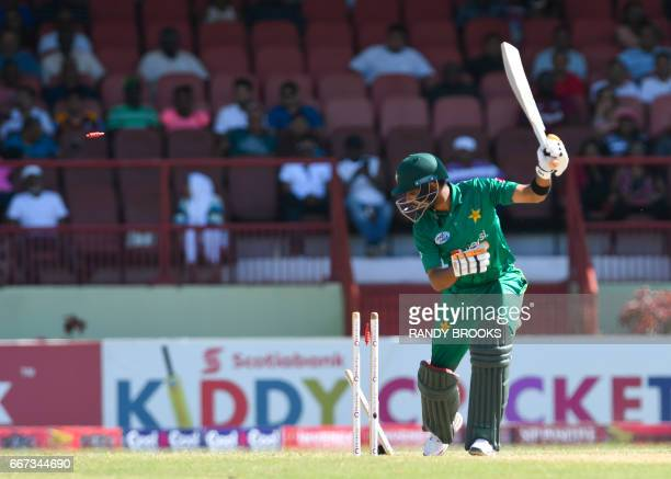 Babar Azam of Pakistan bowled by Shannon Gabriel of West Indies during the 3rd and final ODI match between West Indies and Pakistan at Guyana...