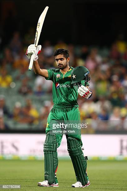 Babar Azam of Pakistan celebrates after reaching 100 runs during game five of the One Day International series between Australia and Pakistan at...