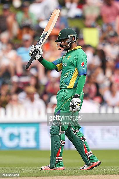Babar Azam of Pakistan celebrates his half century during the One Day International match between New Zealand and Pakistan at Basin Reserve on...