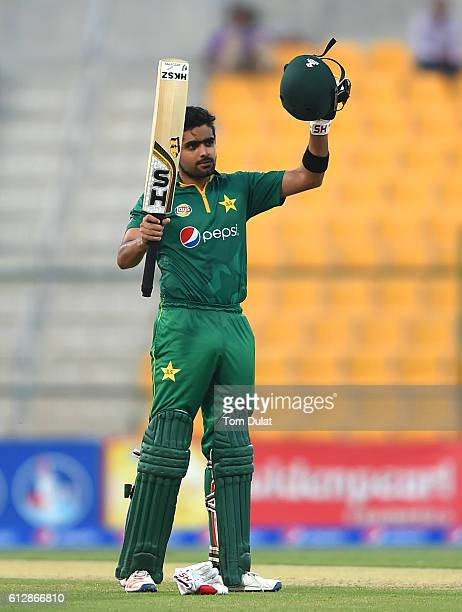 Babar Azam of Pakistan celebrates scoring a century during the third One Day International match between Pakistan and West Indies at Zayed Cricket...