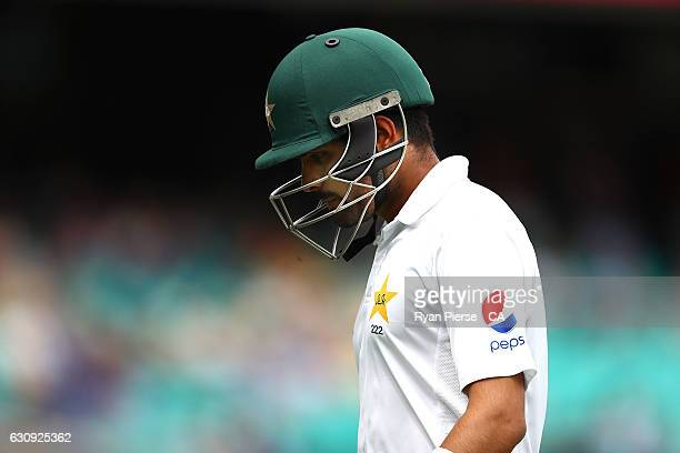 Babar Azam of Pakistan looks dejected after being dismissed by Josh Hazlewood of Australia during day two of the Third Test match between Australia...