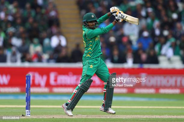 Babar Azam of Pakistan plays to the offside during the ICC Champions Trophy match between Pakistan and South Africa at Edgbaston on June 7 2017 in...