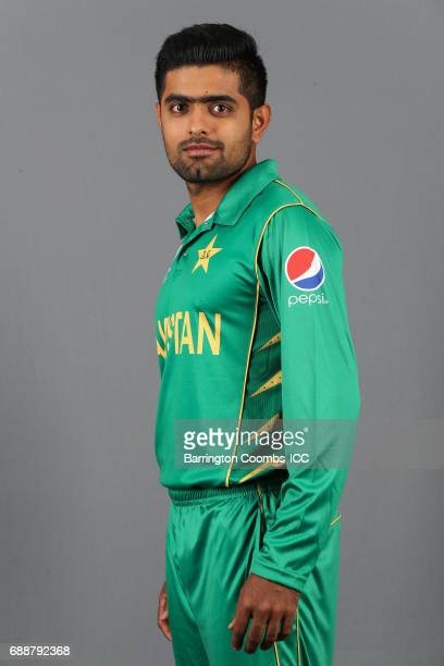 BIRMINGHAM ENGLAND MAY Babar Azam of Pakistan poses during the portrait session at the Malmaison Hotel on May 26 2017 in Birmingham England