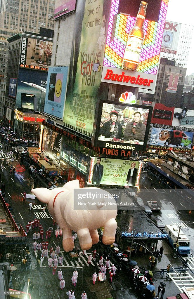 Babe a new balloon heads down Times Square on the homestretch to Macy's during the 72nd annual Thanksgiving Day Parade