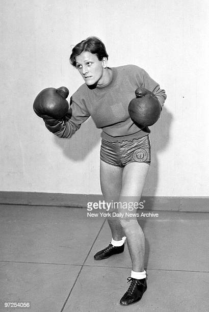 Babe Didrikson working out in the gym